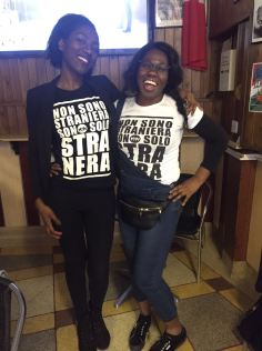 """Student activists: Kai with Stefania - """"We are not FOREIGNERS, we are only BLACKER"""" The t-shirt slogan campaign which has gone viral!"""
